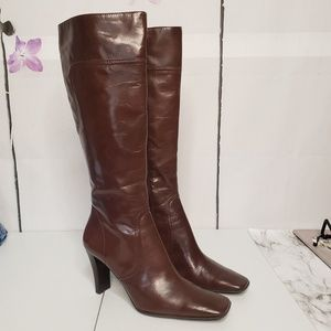 Nine West Nashero Brown Knee High Leather Boots 8